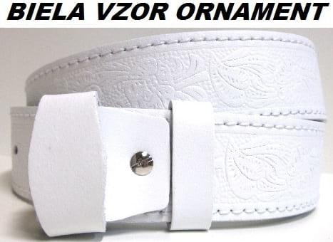 Kožené opasky - biela vzor ornament