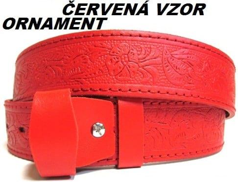 Kožené opasky - červená vzor ornament
