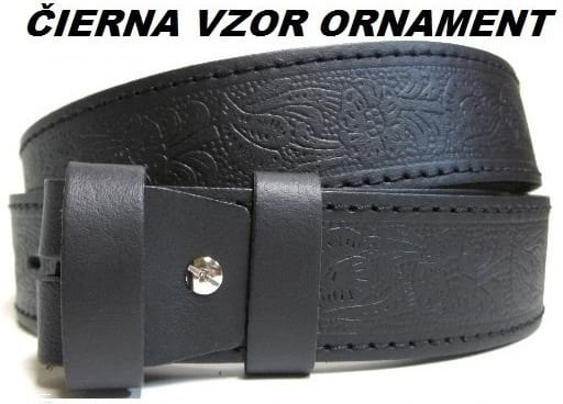 Kožené opasky - čierna vzor ornament