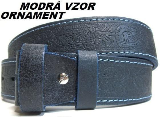 Kožené opasky - modrá vzor ornament
